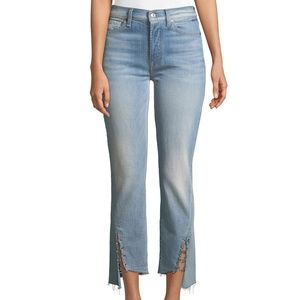 Edie Cropped Straight-Leg Jeans w/ Grommets .